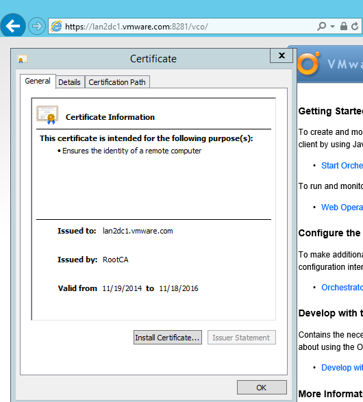 How to change the SSL certificate of WIndows installed vCO