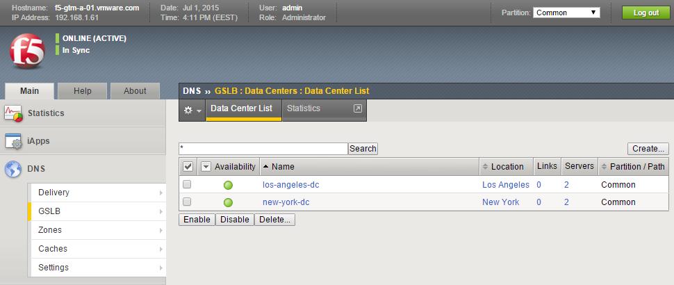 F5 BIG-IP for VMware Products (PoC): F5 BIG-IP GTM Configuration